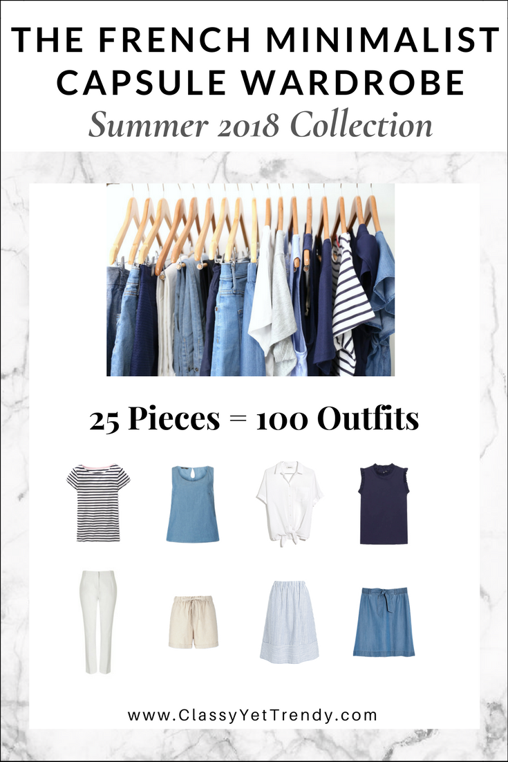 76fb2d170580d French Minimalist Capsule Wardrobe: Summer 2018 eBook - There are 100 outfit  ideas included from just 25 modern, neutral color clothes and shoes, ...