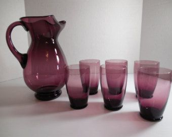 Amethyst Glass Pitcher and Glass Set Made In Italy, Large Amethyst Glass Pitcher, Amethyst Glass Drinking Glasses Set of Six (6)