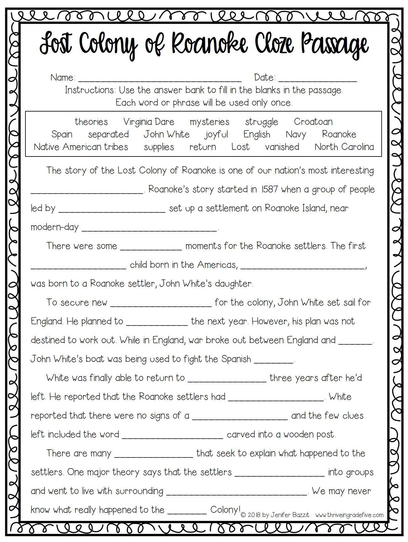 Lost Colony Of Roanoke Activity Free History Worksheets Cloze Passages Social Studies Worksheets