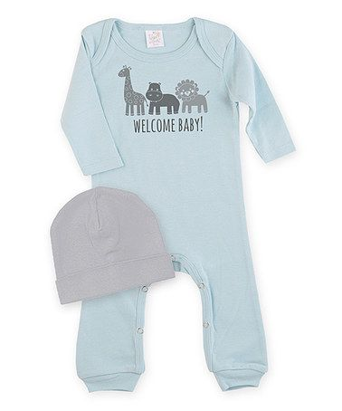 Love this Blue 'Welcome Baby' Playsuit & Gray Beanie - Infant by Tesa Babe on #zulily! #zulilyfinds