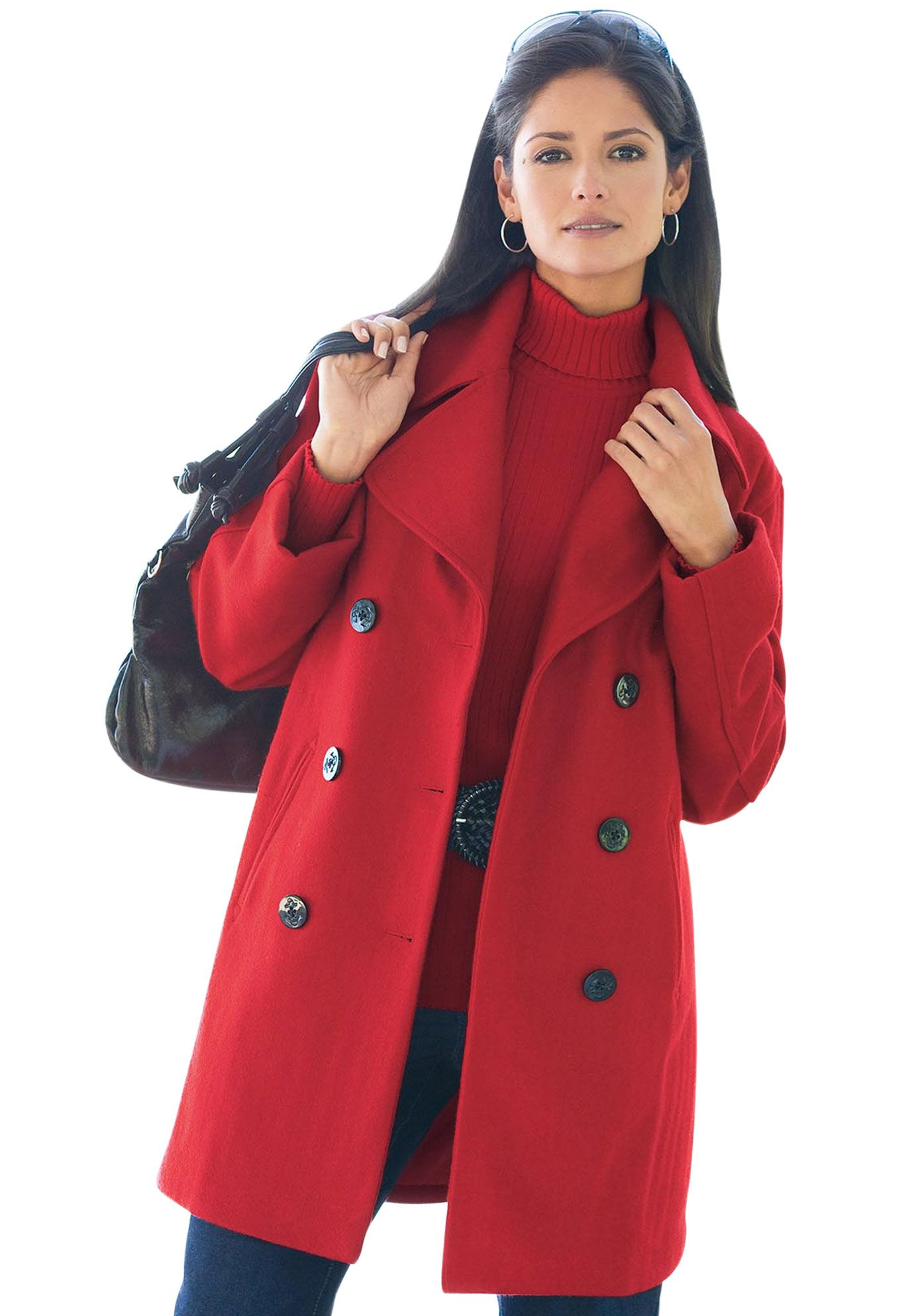 398a17ed6e0 Plus Size Classic Wool Pea Coat