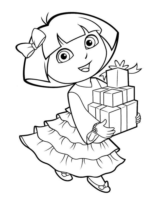 Ausmalbild Geburtstag Dora Fargelegging
