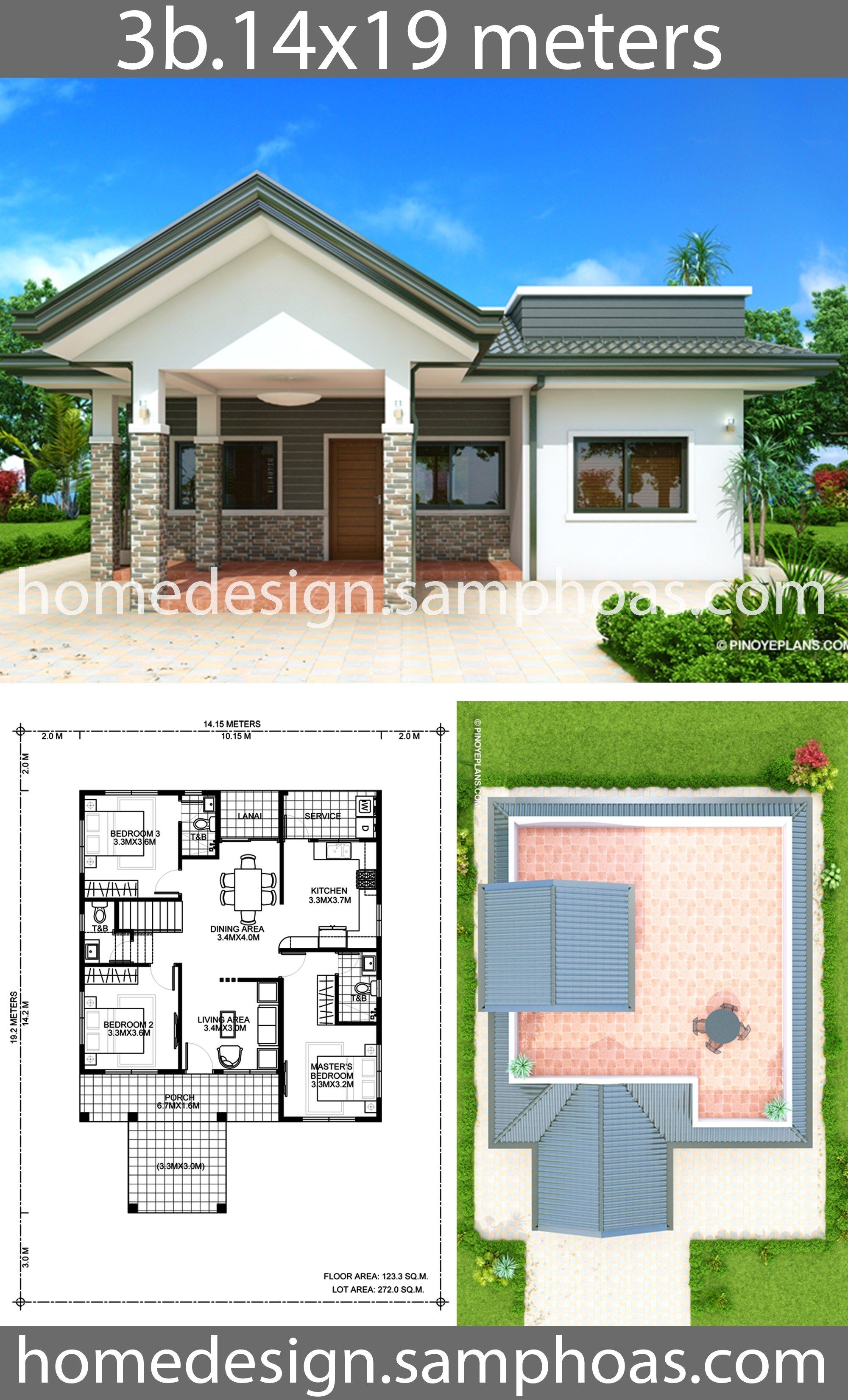 House Design Plans 14x19m With 3 Bedroom Style Modern Terrace Slaphouse Description Ground Level 3 Bedro Beautiful House Plans House Design Home Design Plans