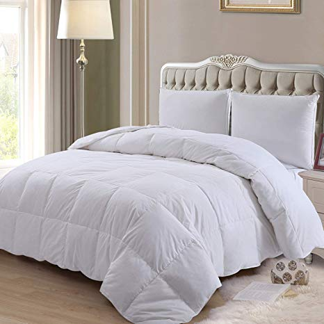 Amazon Com Elnido Queen Down Comforter Goose Duck Down And Feather Filling 100 Cotton Cover Warmth All Season Du In 2020 Bed Comforters Down Comforter Comforters