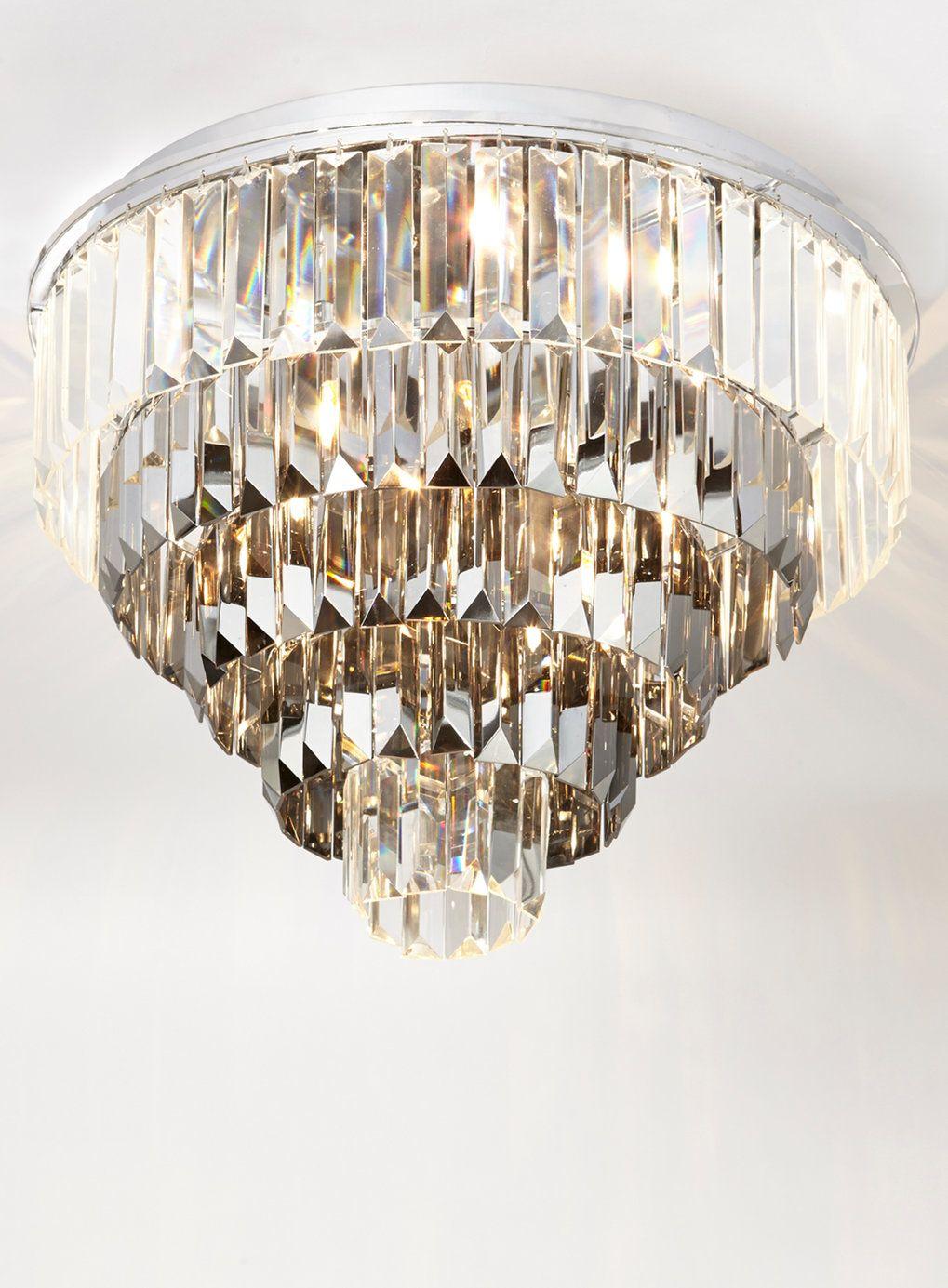 Marcella flushChrome and Crystal Marcella Flush Ceiling Light ...