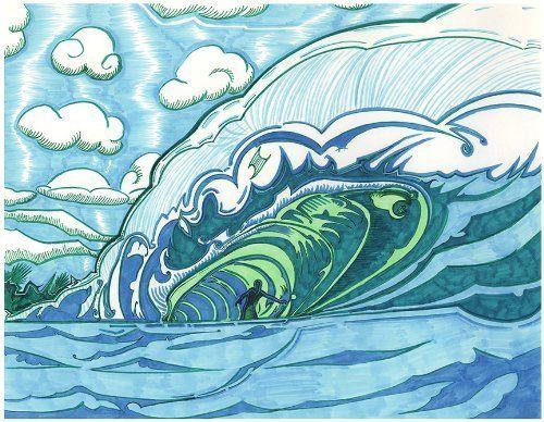 "Emerald Shax | Limited Edition Prints | 17"" x 20.75"" by Lüthårt | #NY #SurfArt @LuthaMiller #Ink #Surfing #Surf #Art #FineArt - http://www.amazon.com/dp/B00AW0KO54/ref=cm_sw_r_pi_dp_B1o5qb09S25MH"