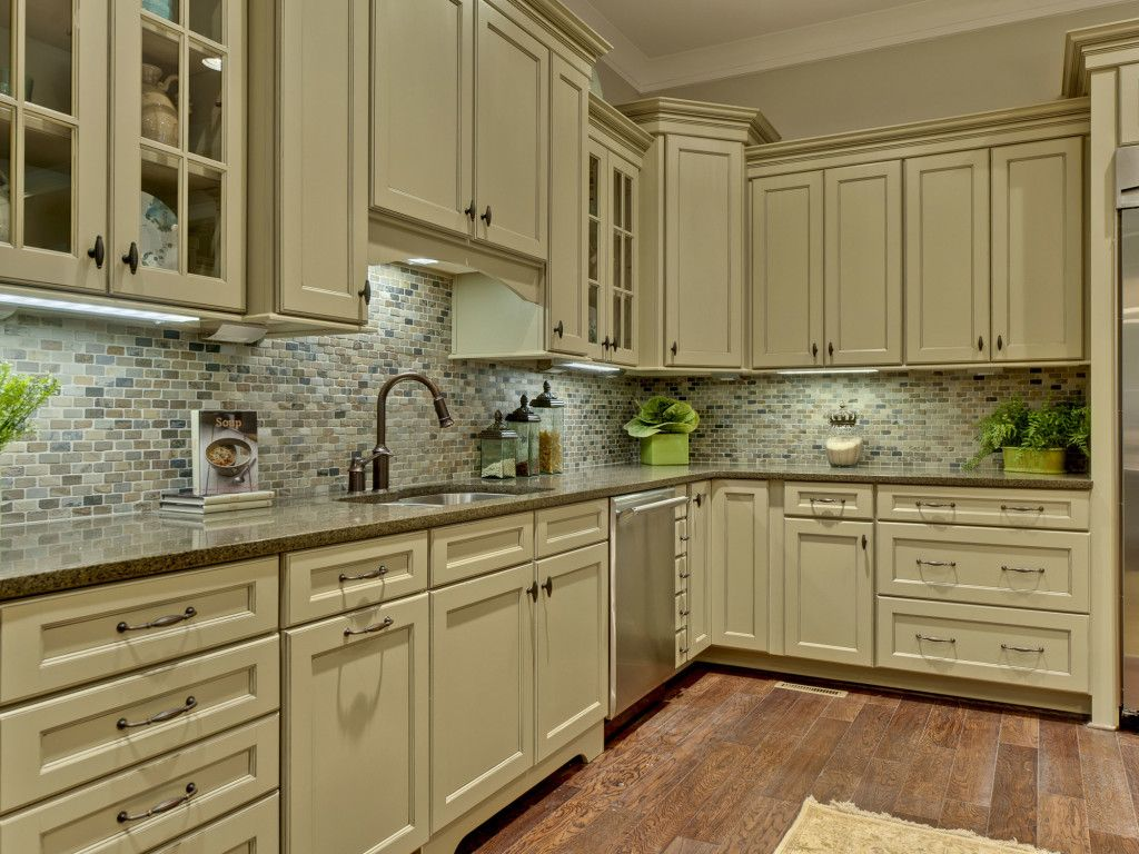 Kitchen sage green kitchen cabinets teak wood tile for Green kitchen cabinets