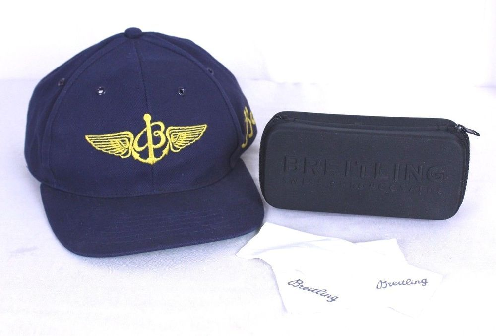 Breitling Snap Back Blue Ball Cap And Black Sun Glass Case W Microfiber Wipes Breitling Baseballcap Ball Cap Microfiber Wipes Cap
