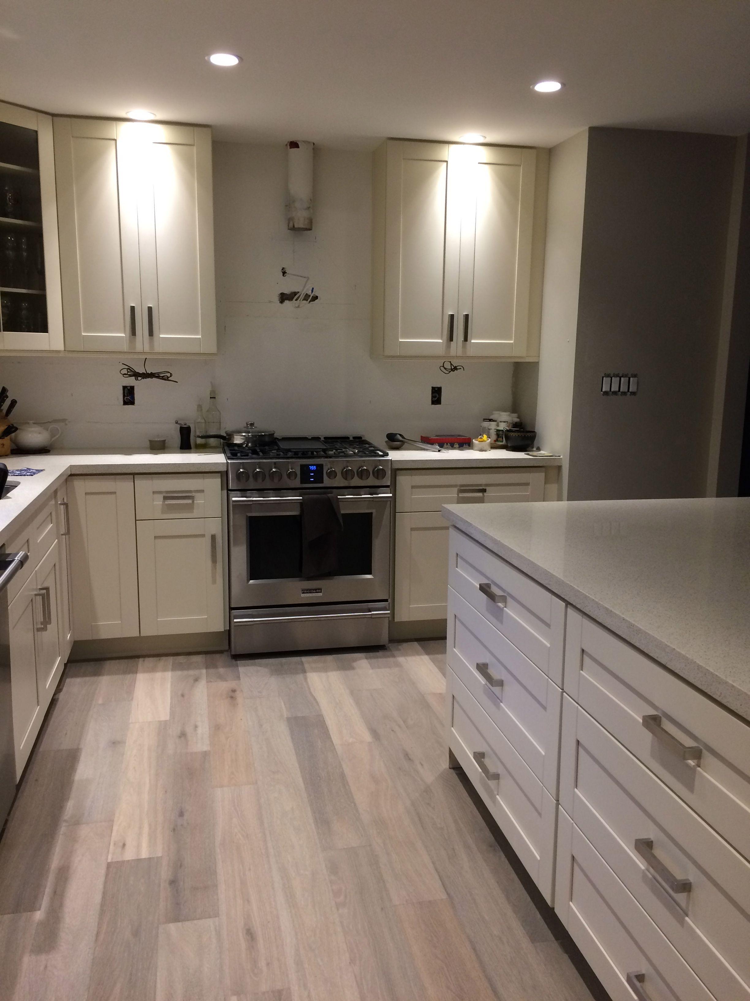 Kitchen After: Milky White Shaker Cabinet, Frigidaire ...