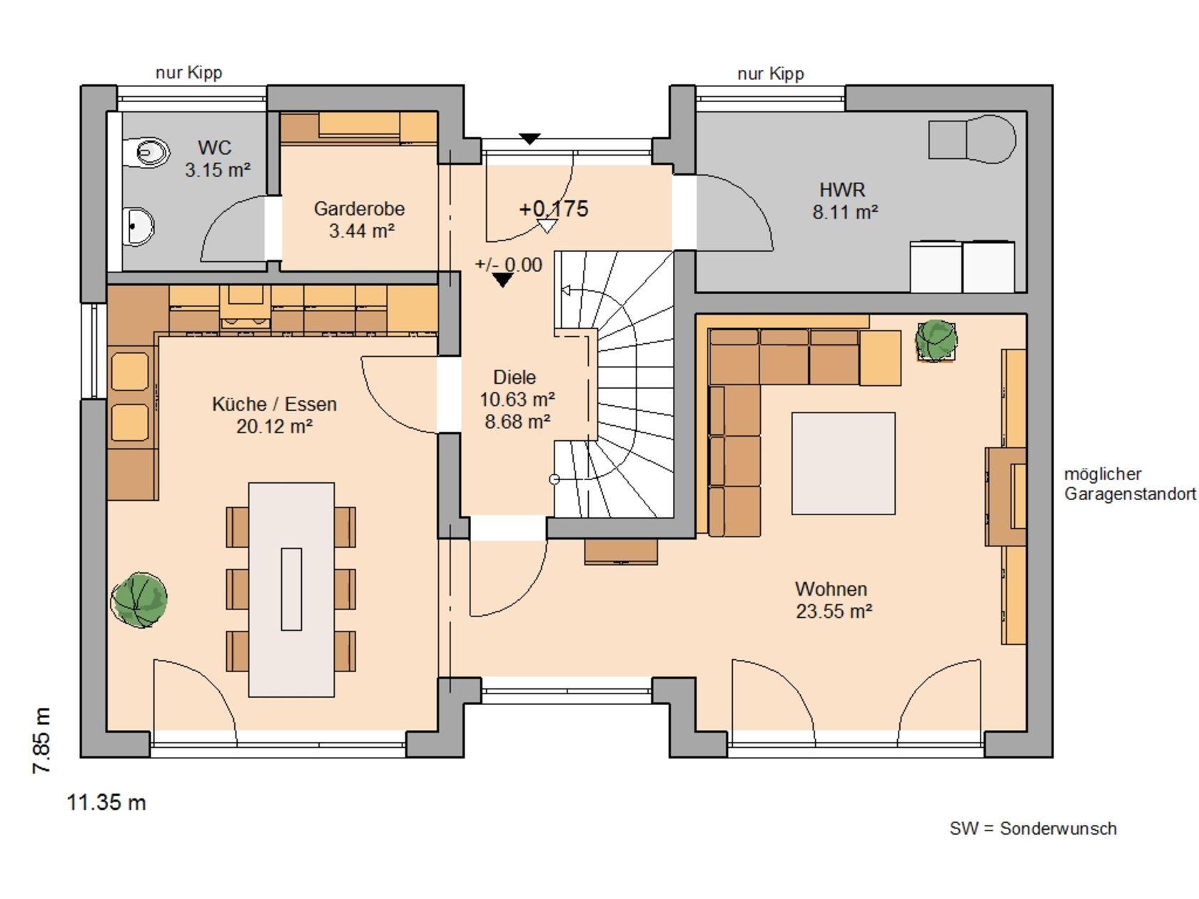 Grundriss einfamilienhaus modern erdgeschoss  Kern-Haus Familienhaus Vio Grundriss Erdgeschoss | P L A N S house ...