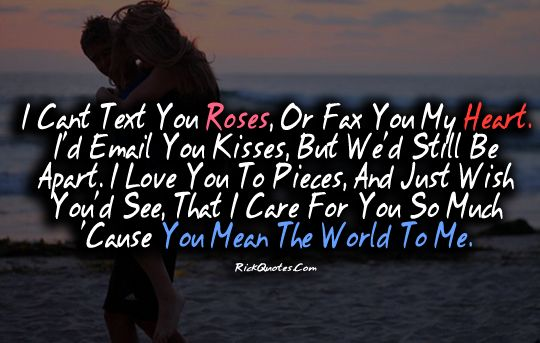 Love Quotes You Mean The World To Me Couple Hug Kiss On Beach
