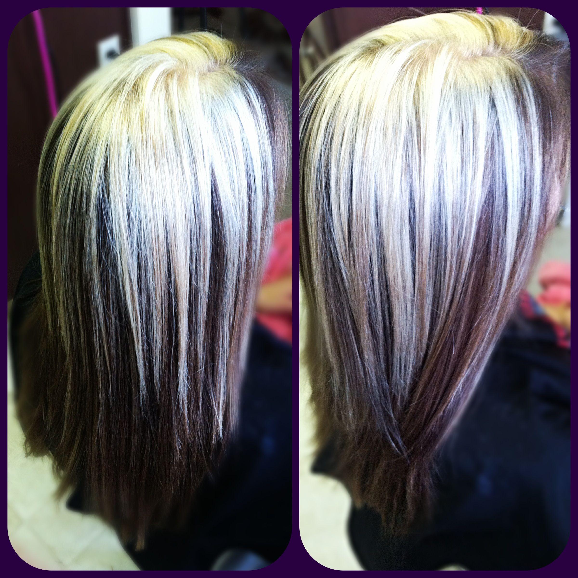 solid blonde highlights over natural