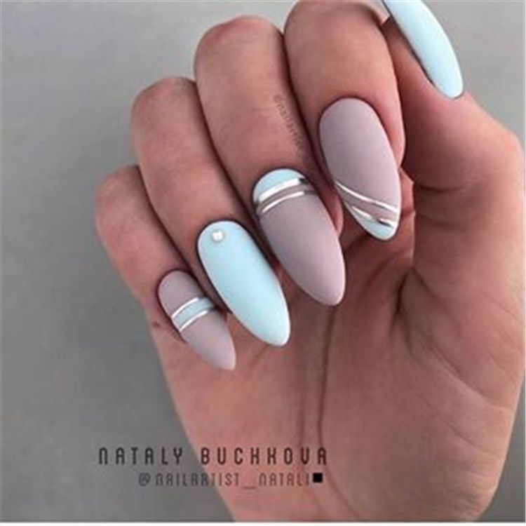150 Simple And Cute Natural Acrylic Coffin Nails Design Page 128 Of 150 Inspiration Diary Matte Acrylic Nails Striped Nails Blue Nails