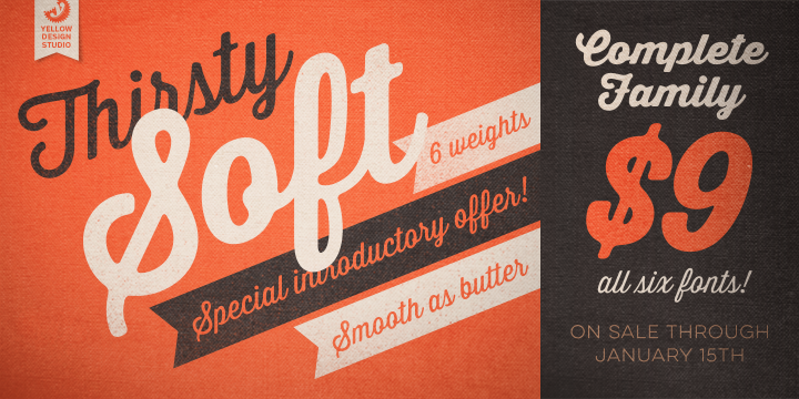 Thirsty Soft Desktop App And Web Fonts By Yellow Design Studio Free Font Graphic Design Business Fonts