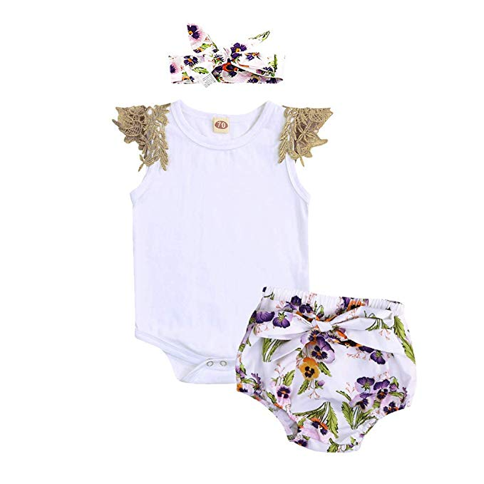 Newborn Infant Baby Girl Lace Floral Romper Bodysuit Sleeeless Clothes Outfits