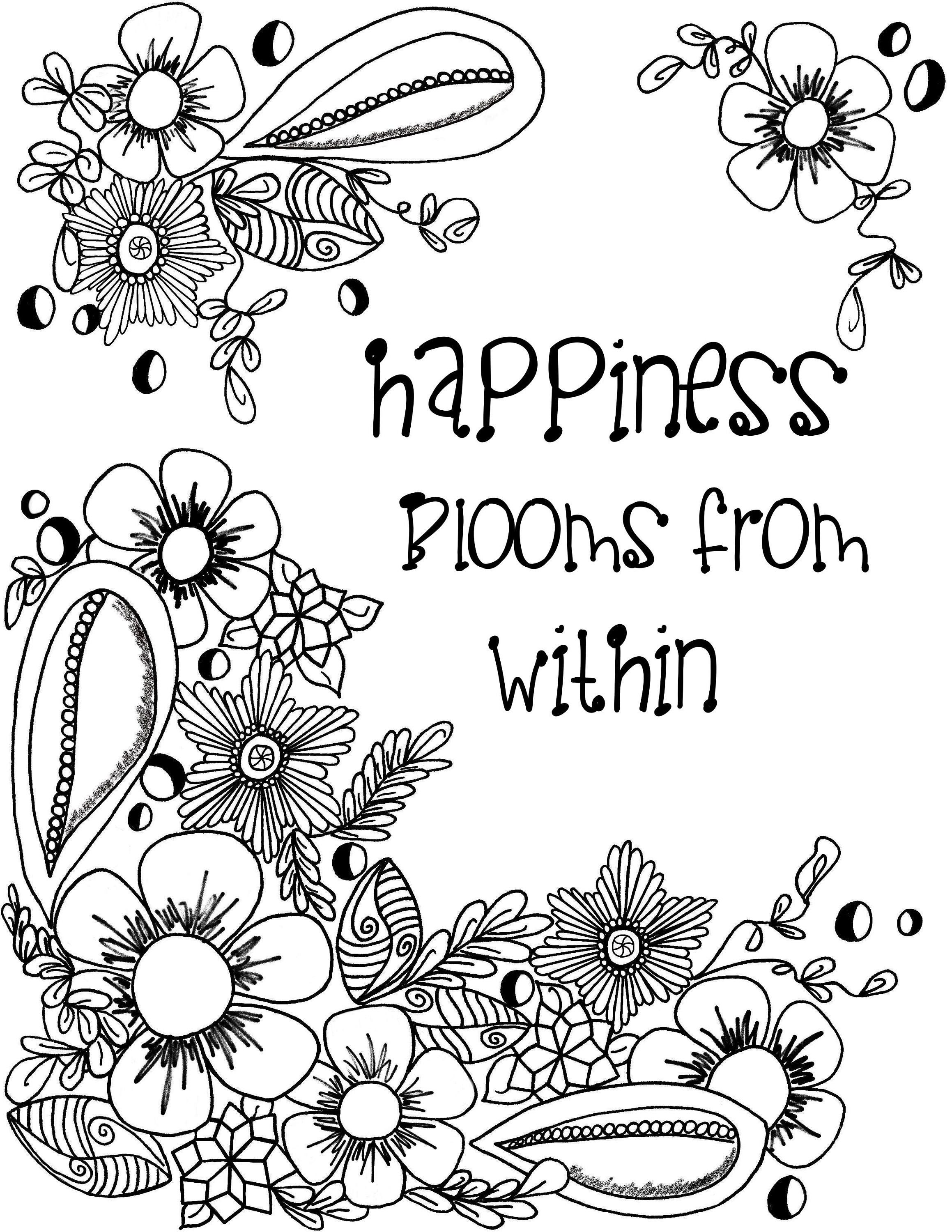 Coloring Page Digital Download With Inspirational Quotes