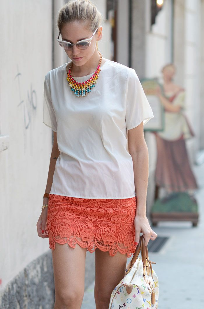 Love the coral lace skirt!    http://www.theblondesalad.com/2012/05/friday-im-in-love.html