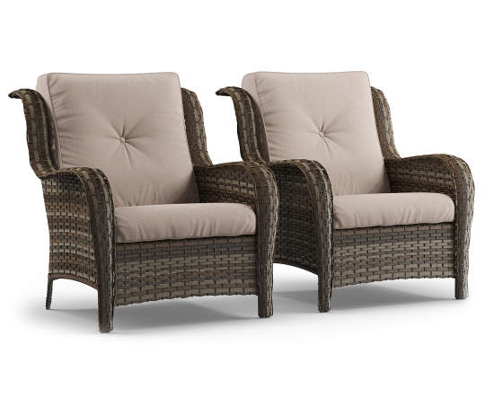 all weather wicker cushioned chairs