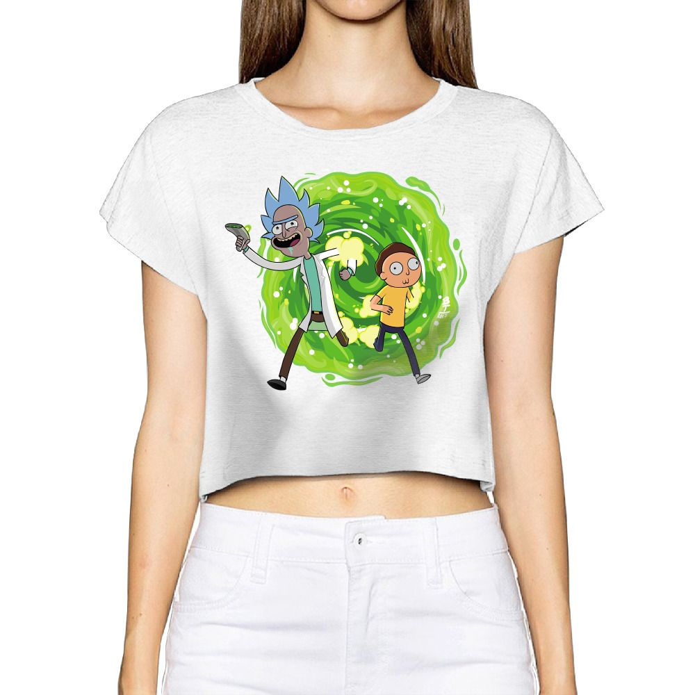 c4d3d19ccc4d9 2017 rick and morty (2) Women New 3D Print Summer Fashion Crop Tops Street