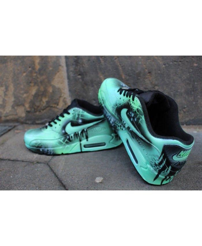 33c8aab2a01b Custom Nike Air max 90 mint Black Abstract graffiti Drip Sneaker  UNIKAT   Rare