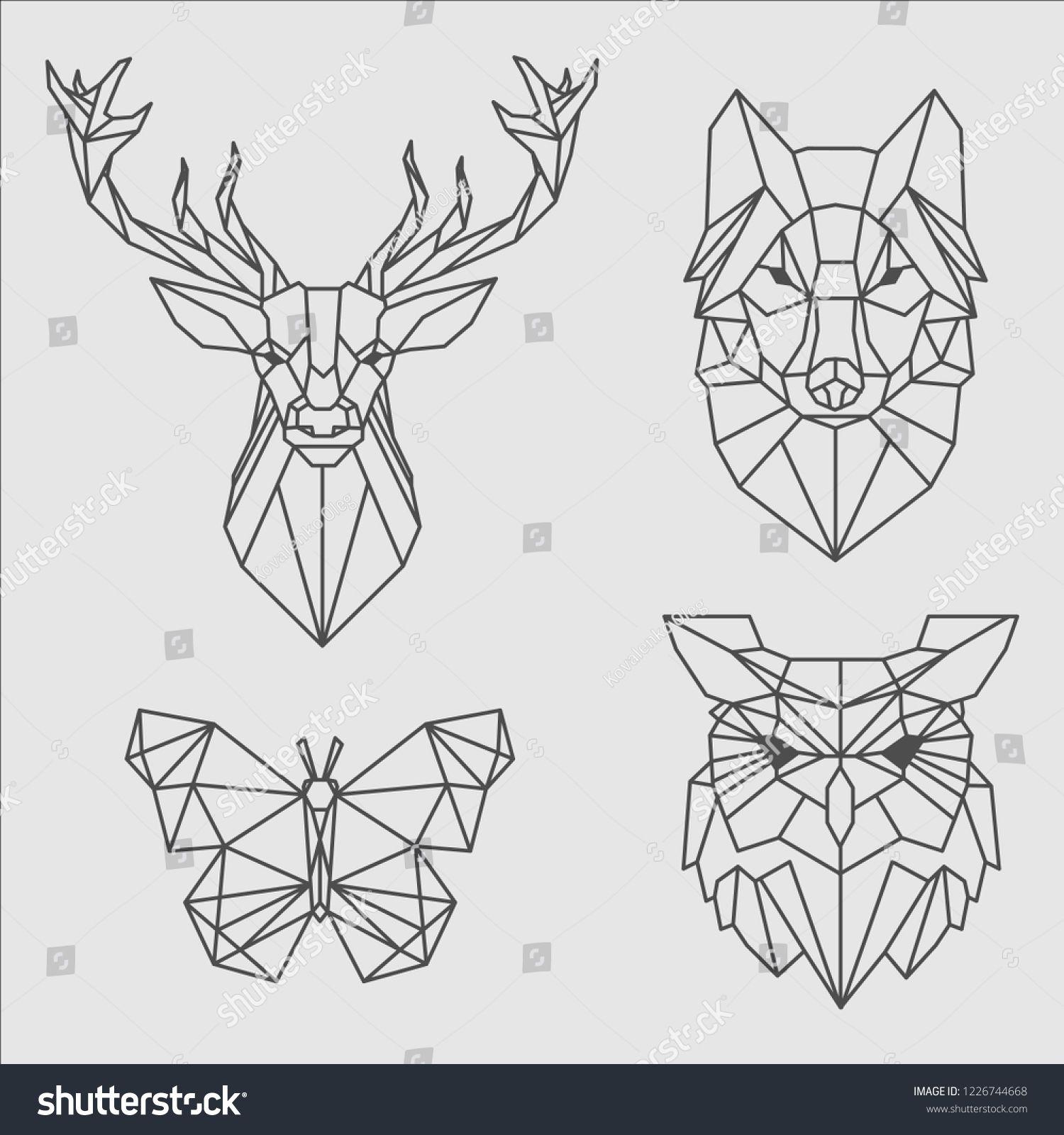 Pack Of Polygonal Animal Tattoos Ad Ad Polygonal Pack Tattoos Animal Geometric Drawing Geometric Animals Pixel Art