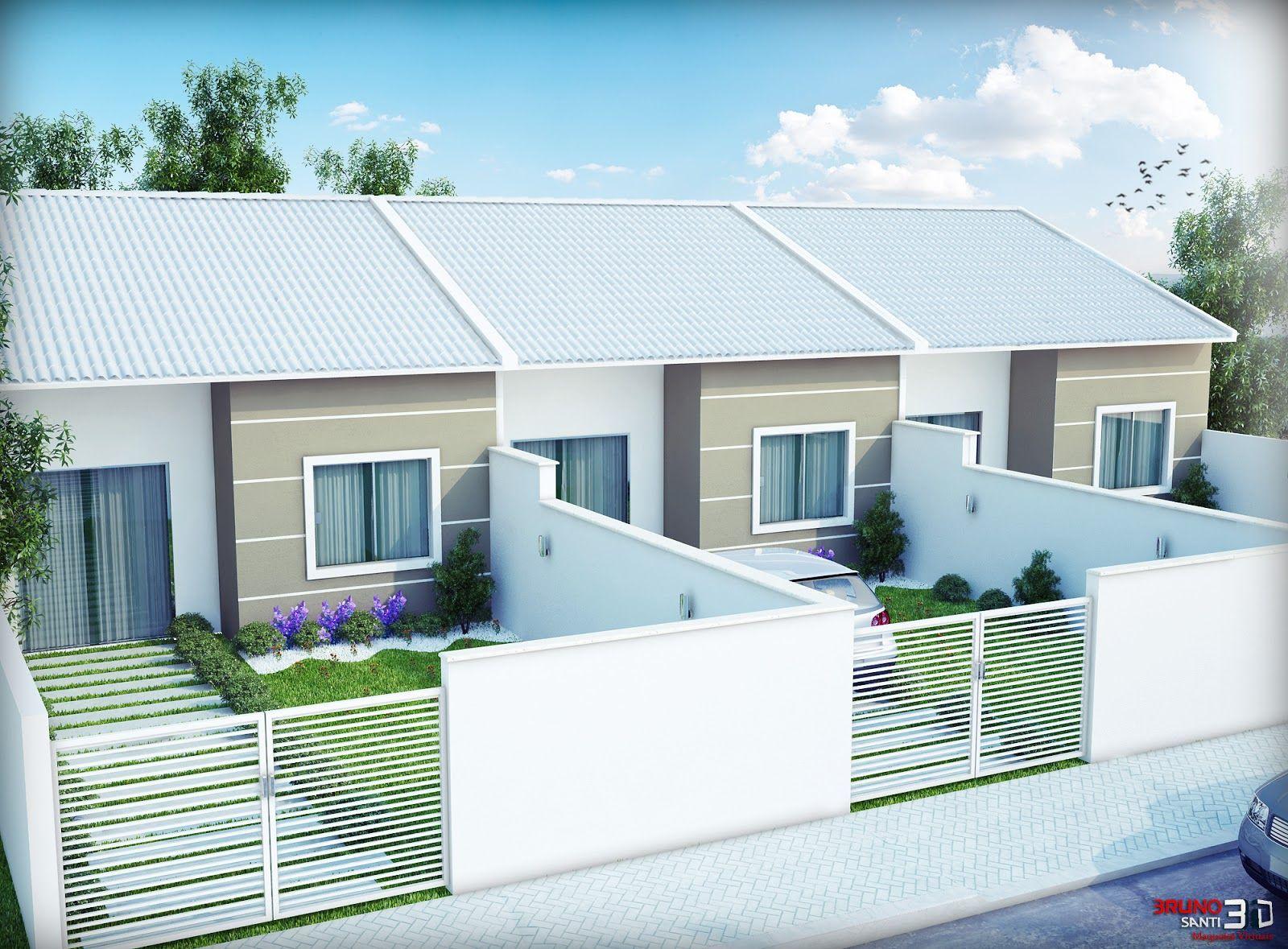Maquete eletronica bruno santi 3d casas geminadas for Fachadas de casas modernas de 2 quartos
