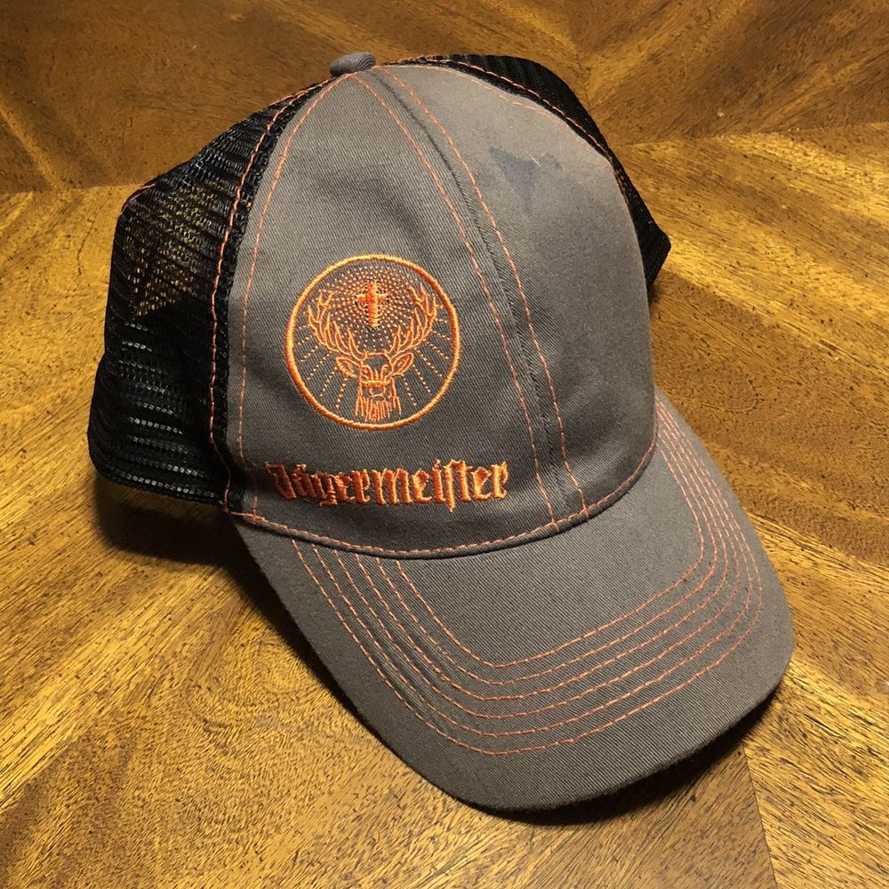 4b0de0ee482 Jagermeister Baseball Trucker Hat Mesh Snapback Adjustable Hat Cap ...