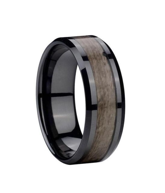 Men S Women Band Ring Engagement Black Ceramic Gray Wood Inlay 8mm All Size Black Ceramic Ring Ceramic Rings Wood Inlay Rings