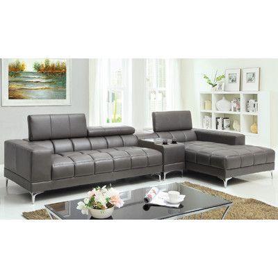 Hokku Designs Derrikke Reclining Sectional Upholstery: Gray