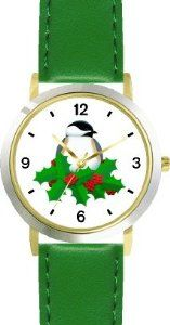 Best Price Black Capped Chickadee & Christmas Mistletoe - JP - WATCHBUDDY® DELUXE TWO-TONE THEME WATCH - Arabic Numbers - Green Leather  Find Best Deals - http://greatcompareshop.com/best-price-black-capped-chickadee-christmas-mistletoe-jp-watchbuddy-deluxe-two-tone-theme-watch-arabic-numbers-green-leather-find-best-deals
