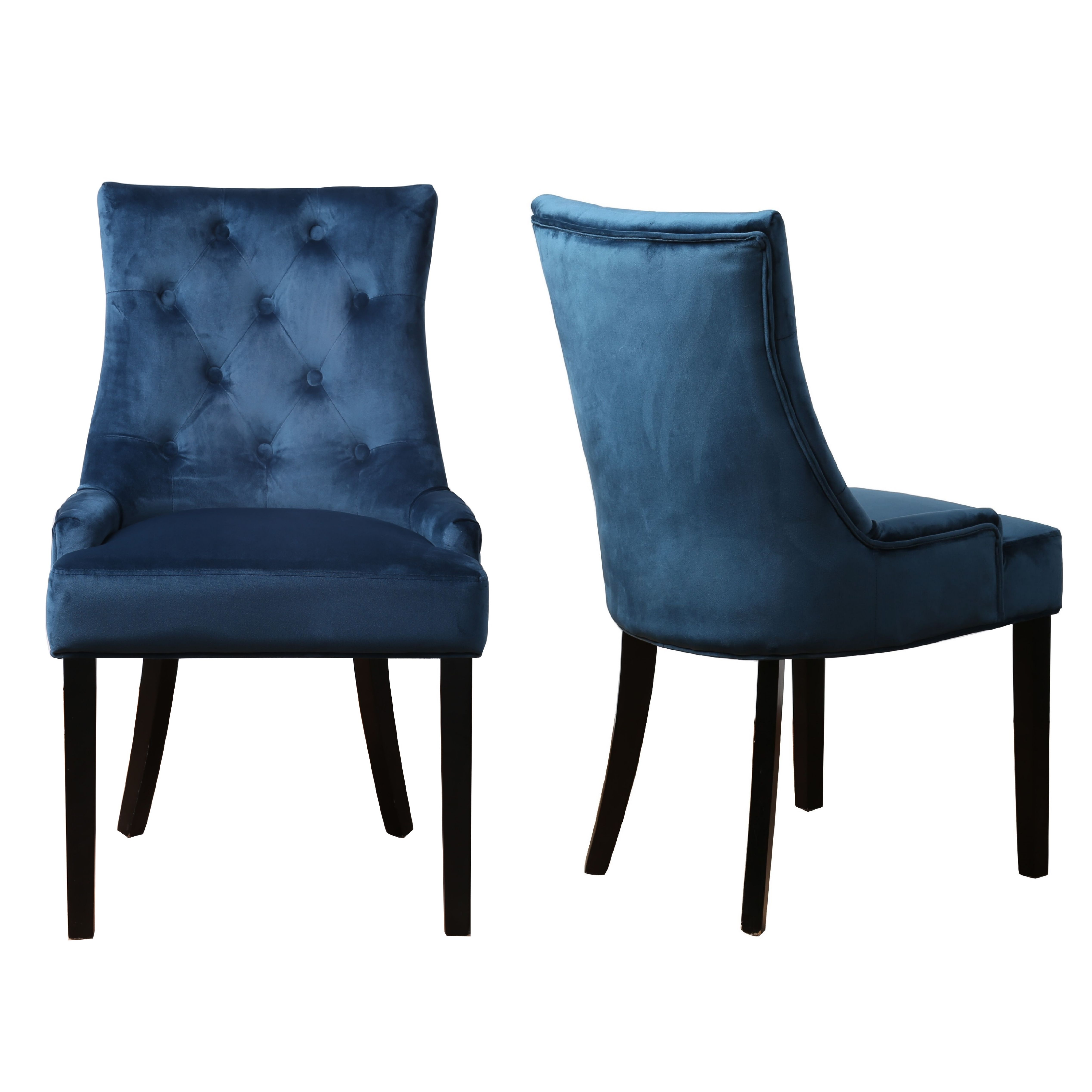 Kaylee Petrol Blue Velvet Velour Pair Of Button Dining Chairs With
