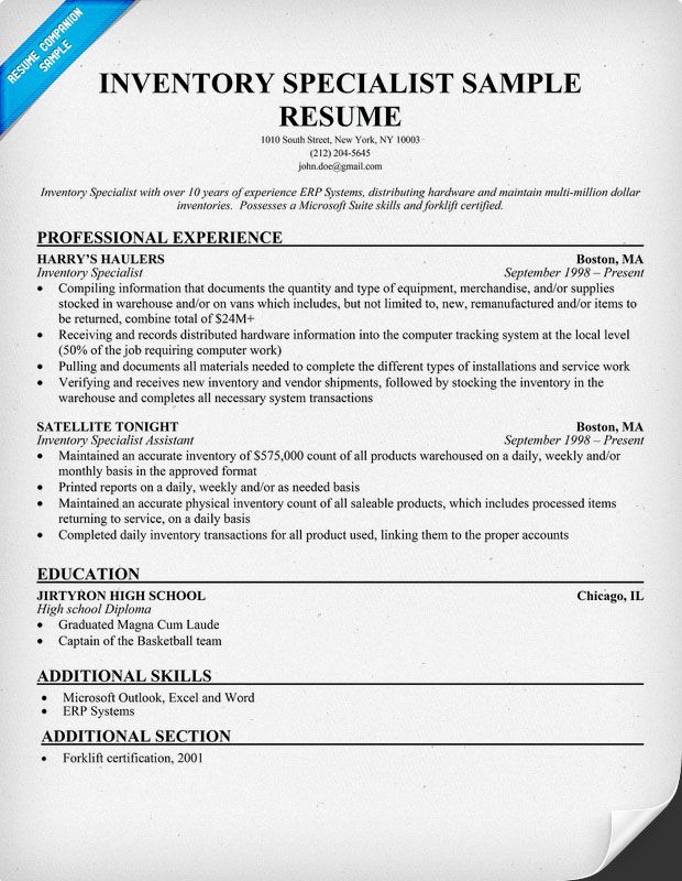 Inventory Specialist Sample Resume (resumecompanion) Resumes - photo specialist sample resume