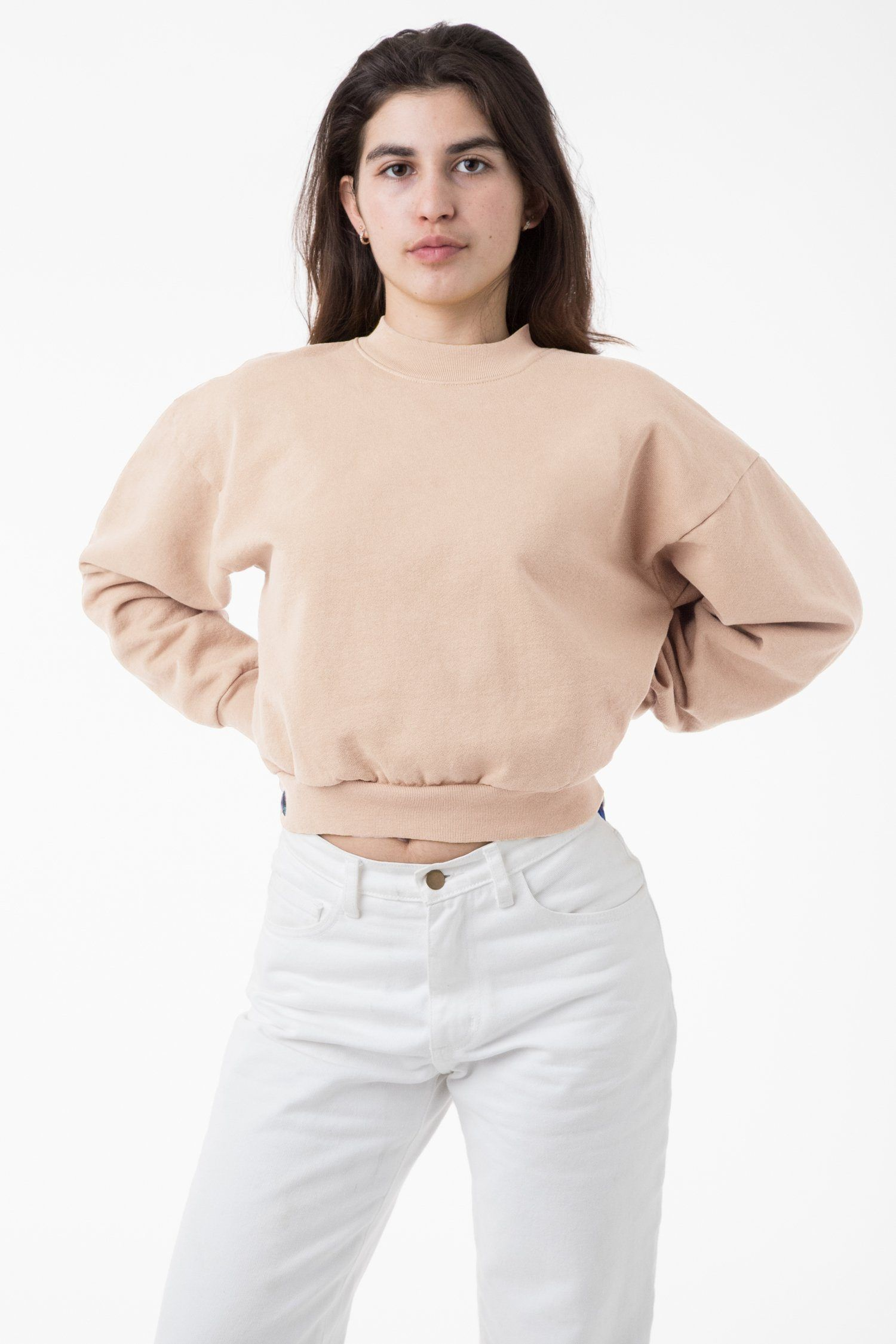 Hf06gd 14 Oz Garment Dye Heavy Fleece Cropped Mock Neck Pullover Garment Dye Sweatshirts Women High Waisted Pants
