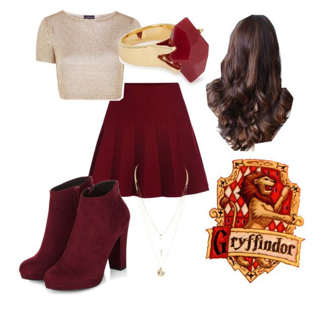 """Gryffindor Casual"" by jules2k15 on Polyvore featuring Topshop and Lola Rose"