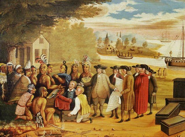 Penns Treaty By The Pennsylvania Quaker Folk Artist