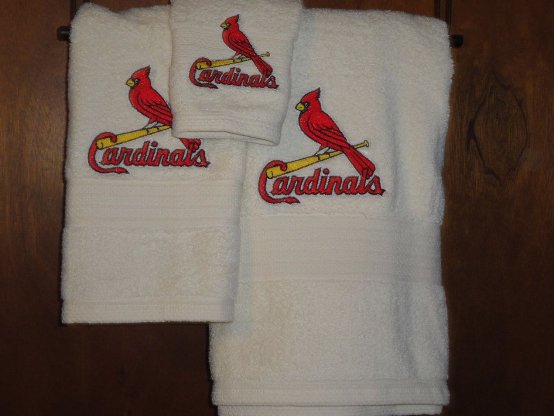 St Louis Cardinal Baseball Embroidered Bath Towel Set Bath