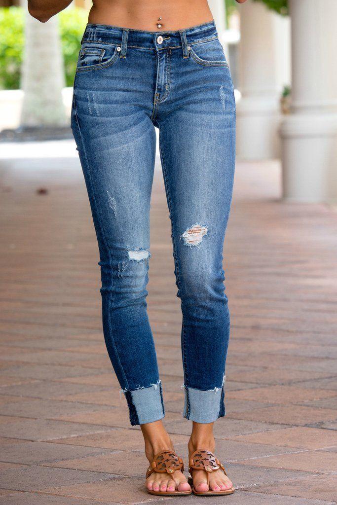 8a8948ae1e22 KANCAN Distressed Skinny Fit Raw Hem Jeans Shop Simply Me Boutique SHop SMB  – Simply Me Boutique