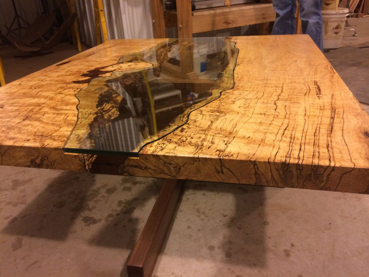 Table of Spalted Maple Live Edge Slab and Hand Cut Glass coffee table glass live…