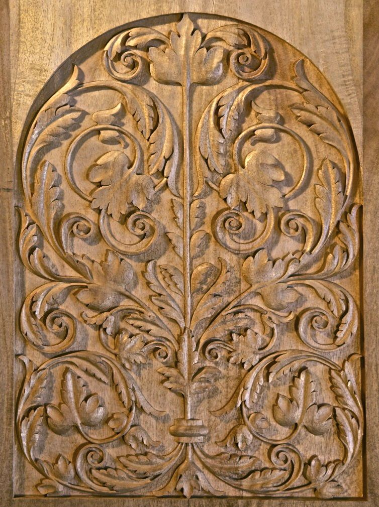 Wood carved door panel late german renaissance hand
