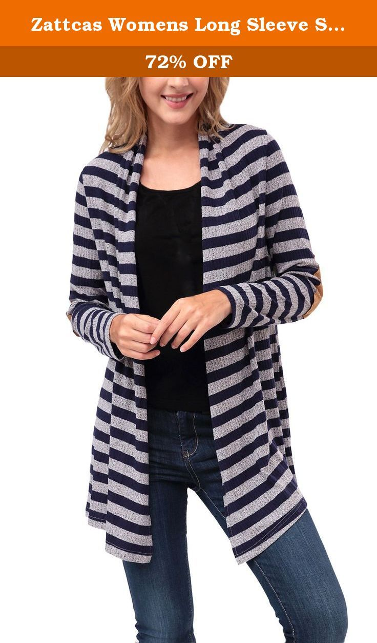 Zattcas Womens Long Sleeve Shawl Collar Striped Elbow Patch ...