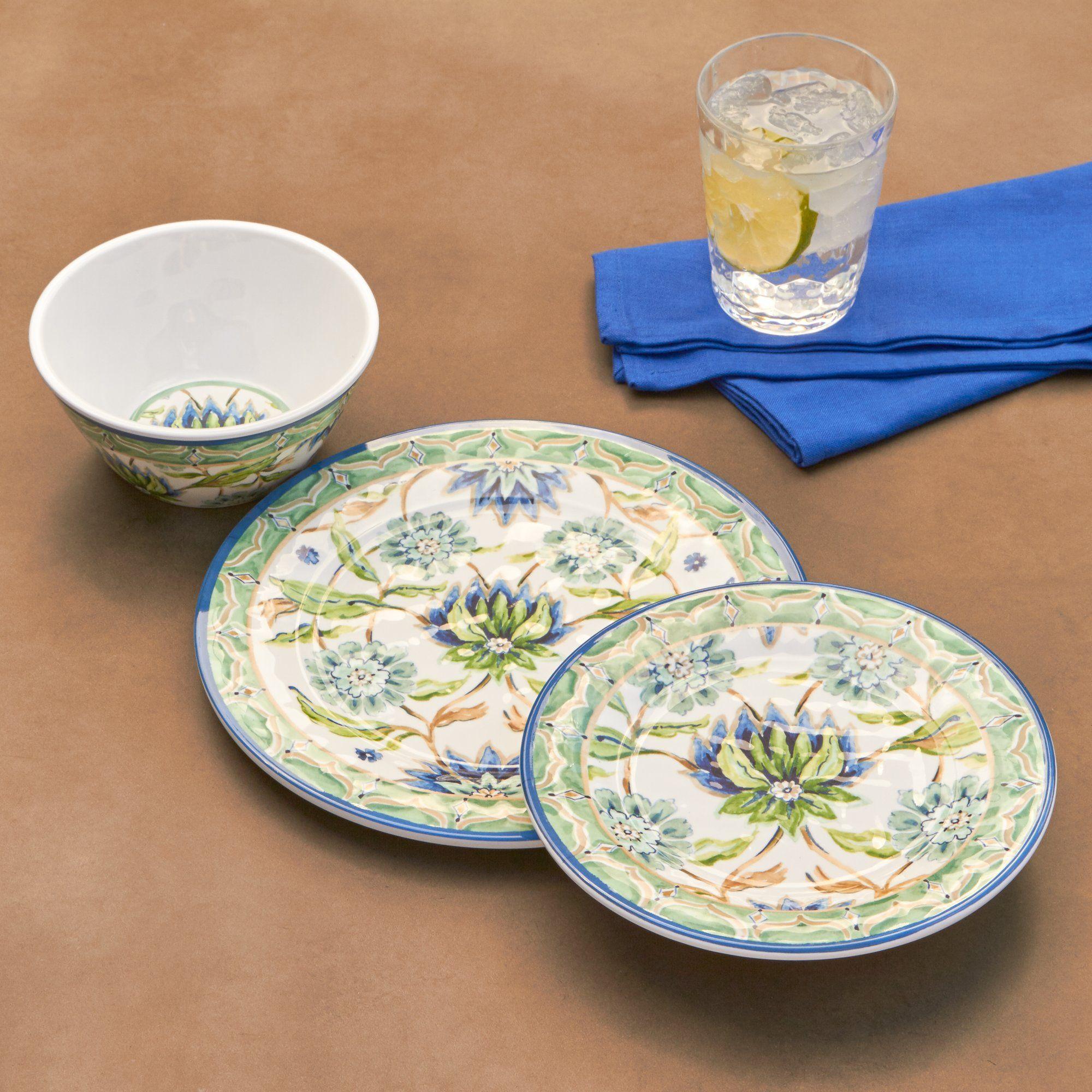 Sanya Melamine 12 Piece Dinnerware Set Service for 4 & Sanya Melamine 12 Piece Dinnerware Set Service for 4 | Sanya ...