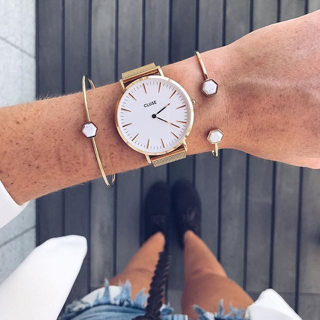 ebafb475aef CLUSE Idylle Gold Marble Hexagons Open Cuff Bracelet CLJ11003 ♥ Chic.  Minimalist. Unique. CLUSE women's watches are inspired by French minimalism  and worn ...