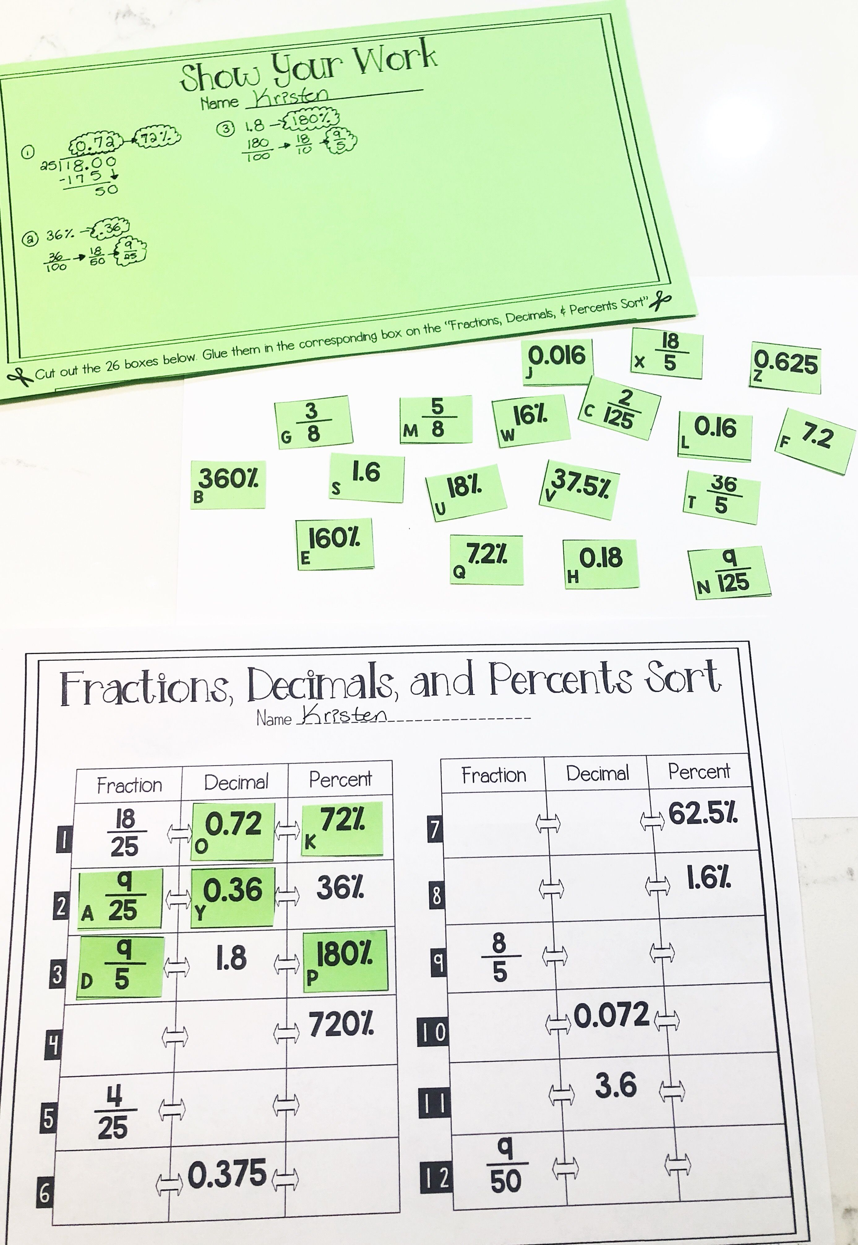 This Converting Fractions Decimals And Percents Activity Was The Perfect Worksheet To Help With Rewriting Numbers My 7th G Sorting Cards Decimals Fractions