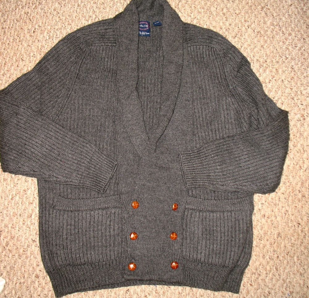 Vtg ALLEN SOLLY Mens Heavy Cable Knit Cardigan L XL - Gray ...