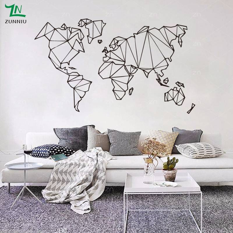 abstract map world geography wall stickers living room bedroom