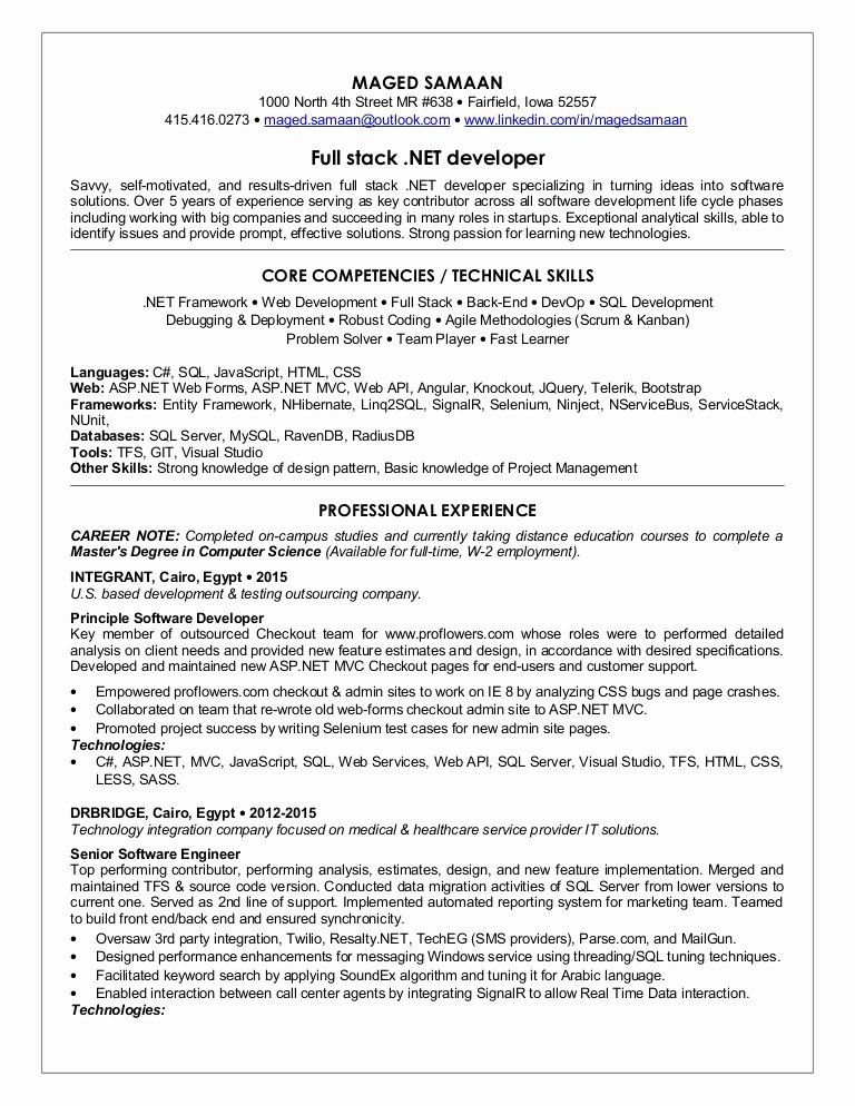 Full Stack Java Developer Resume Elegant Maged Samaan Sr Fullstack Net Developer Cv