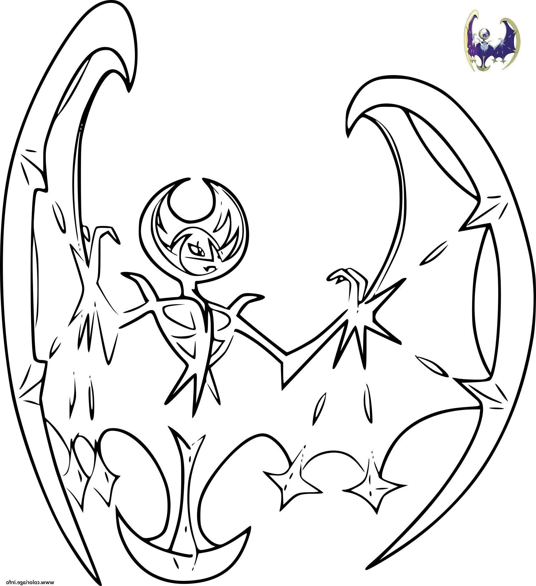Pokemon Lunala Coloriage Dessin Perteidentifiantpokemongo