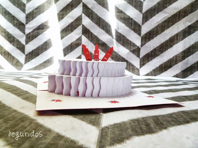 Jeguridos Molde Tarjeta Pop Up De Cumpleanos Pastel Pie