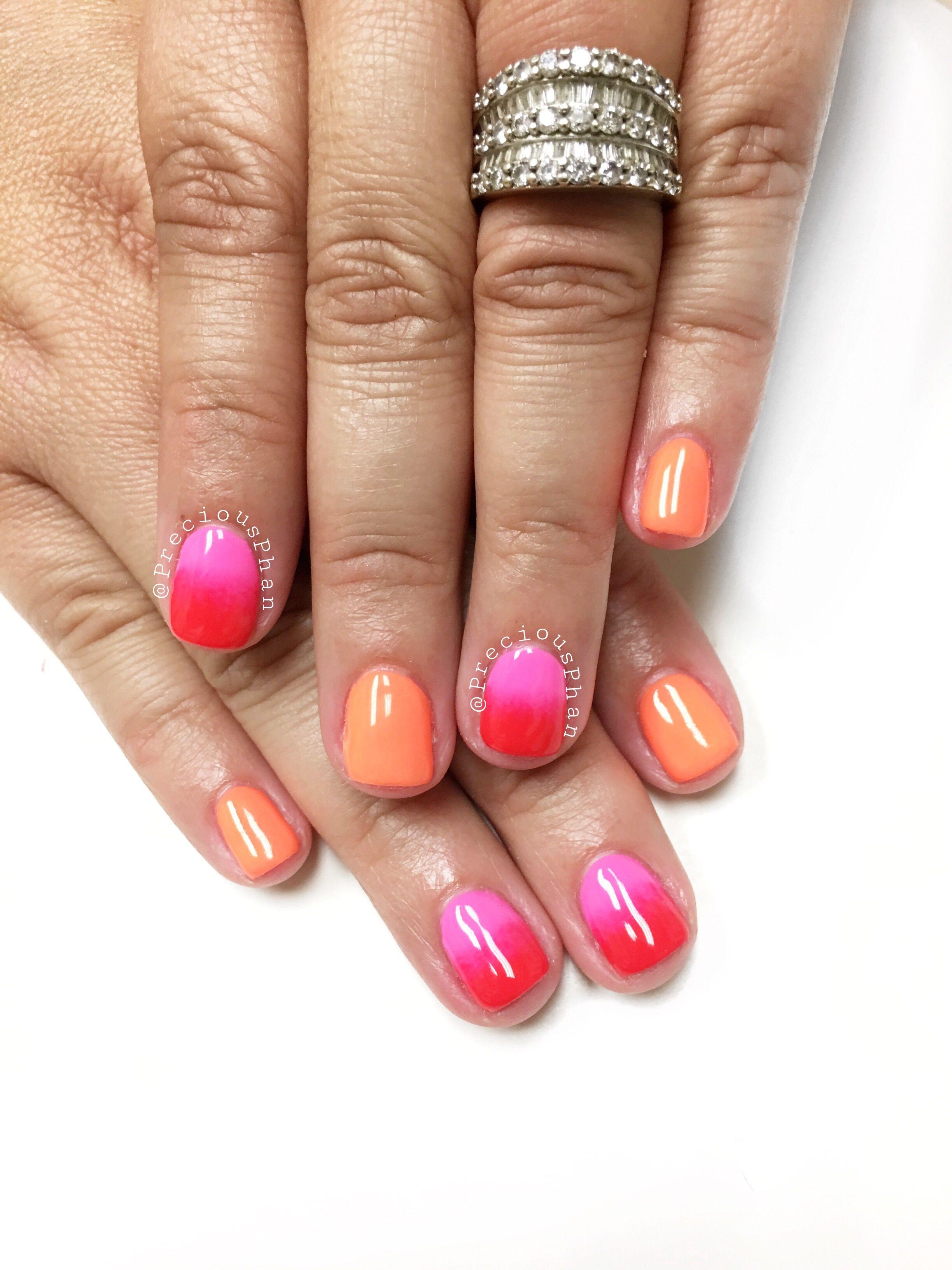 Pink and orange nails. Summer nails. Not to much longer Til I start ...