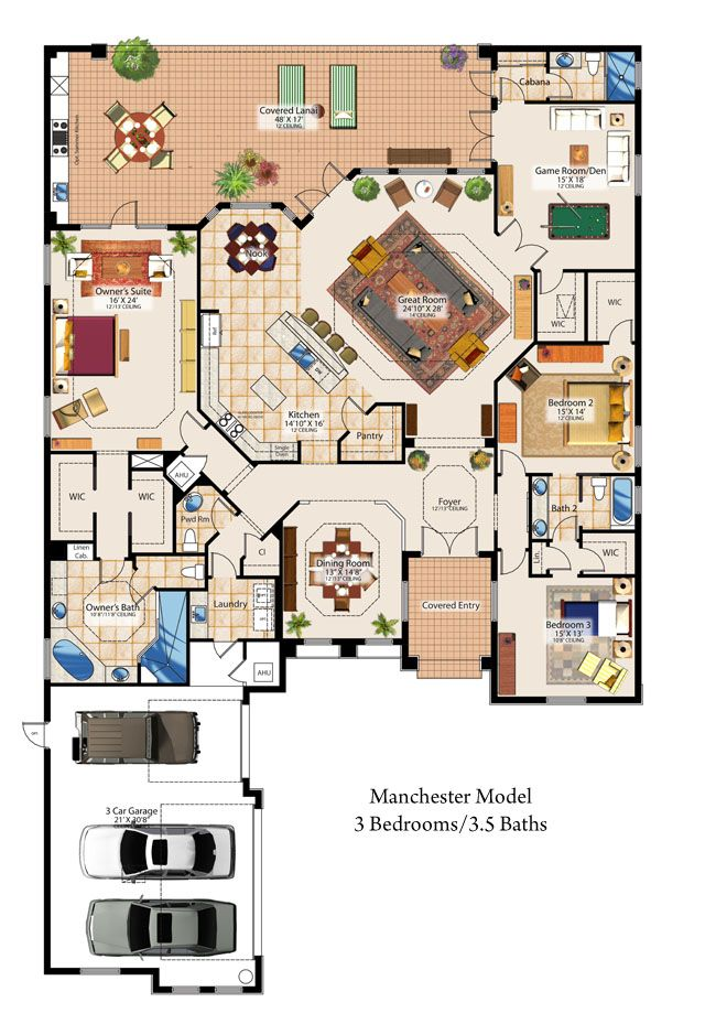 Pin by first last on dreams pinterest bed sets hall and bath love that the kitchen is in the center of the house great setup and giant pantry walk in shower and a covered patio with built in grillme room can be malvernweather Choice Image